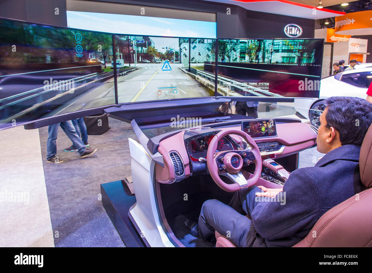 simulator at the kia booth at the ces show in las vegas