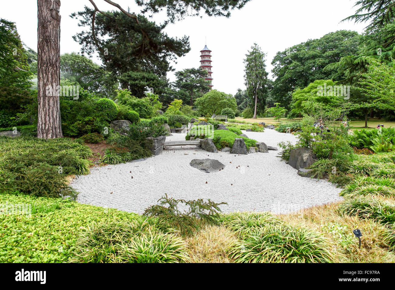 The Japanese Garden With The Chinese Pagoda In The Background At - Japanese gardens in england