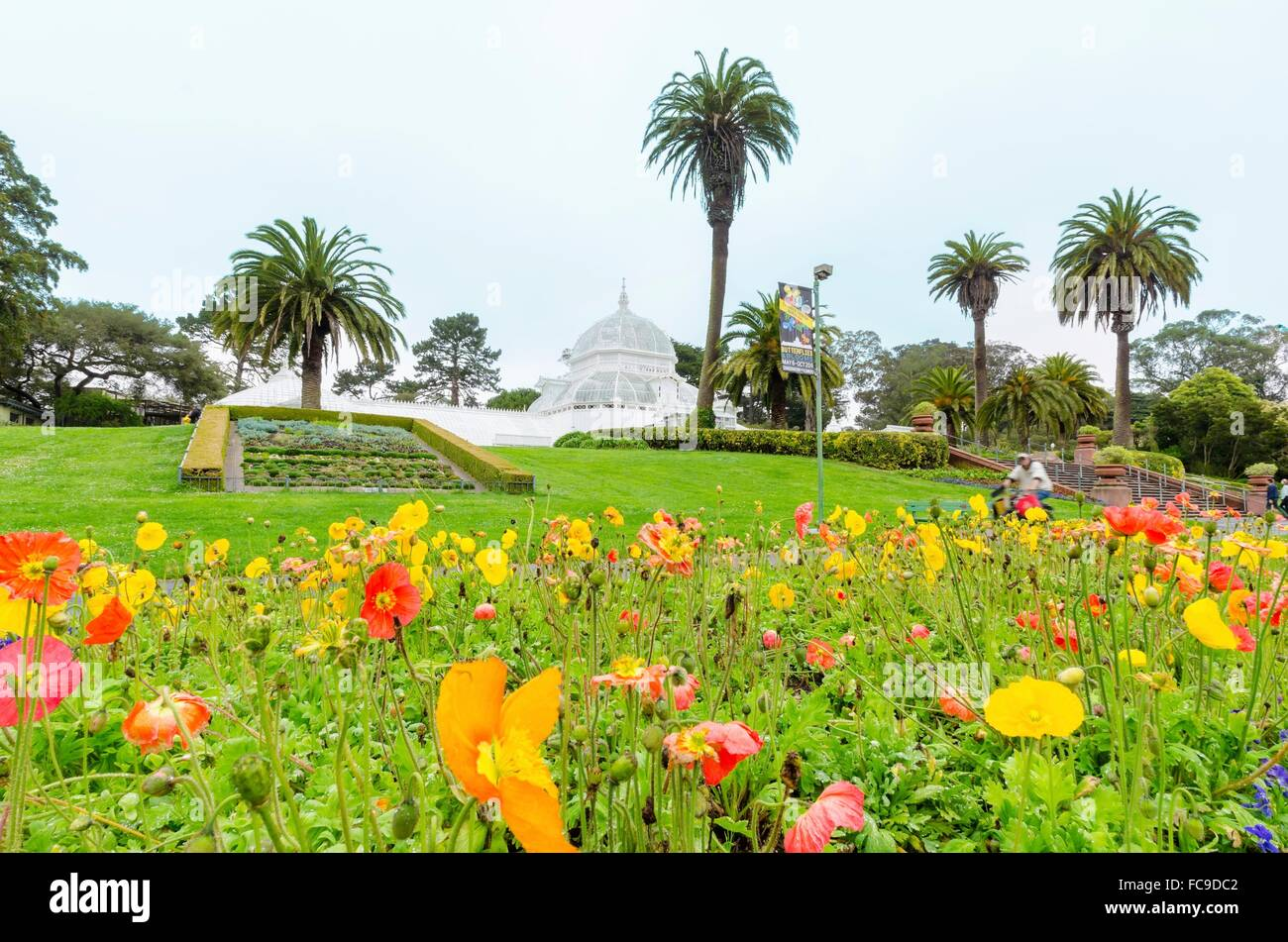 The Garden Of The Conservatory Of Flowers In San Francisco, California,  United States Of America. A Greenhouse, Botanical Garden