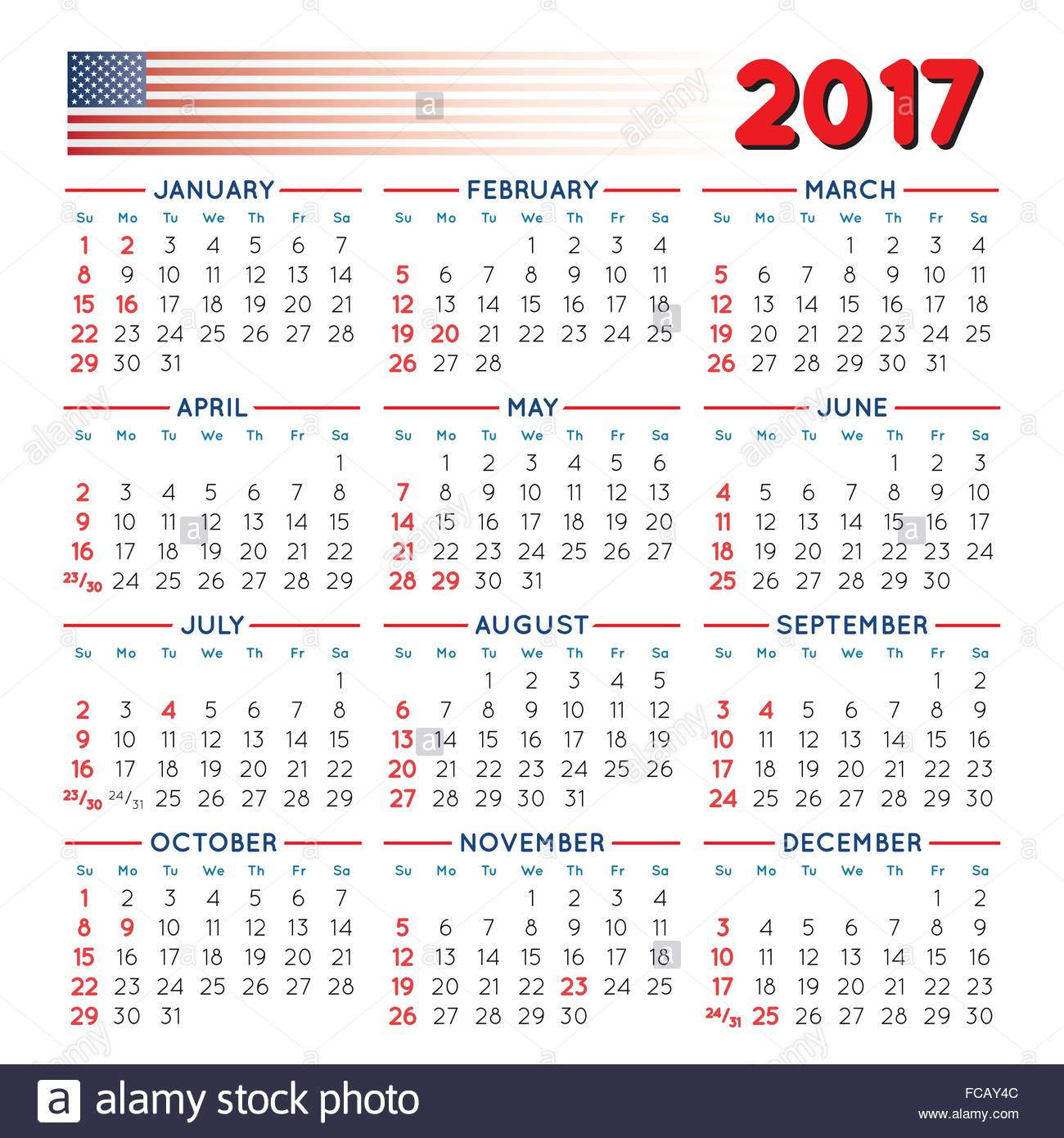 Calendar Year Number Of Days : Elegant squared calendar with usa festive days year