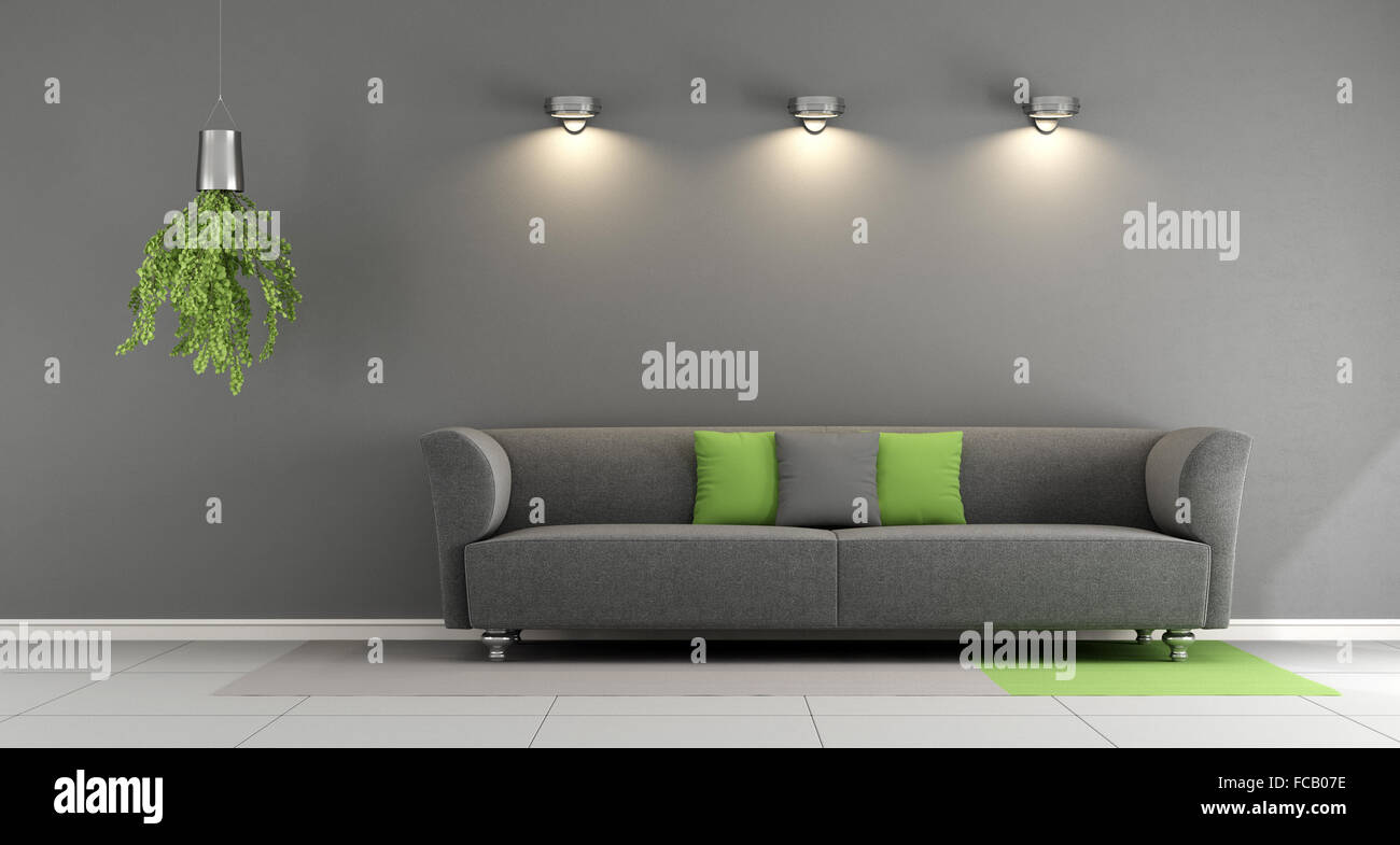 Gray Contemporary Living Room With Sofa And Spotlight On Wall   3d Rendering