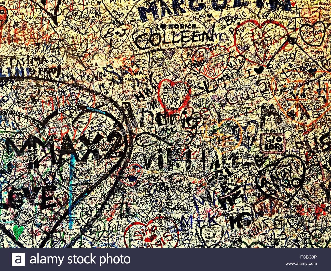 Graffiti wall writing - Messy Graffiti Wall Stock Image