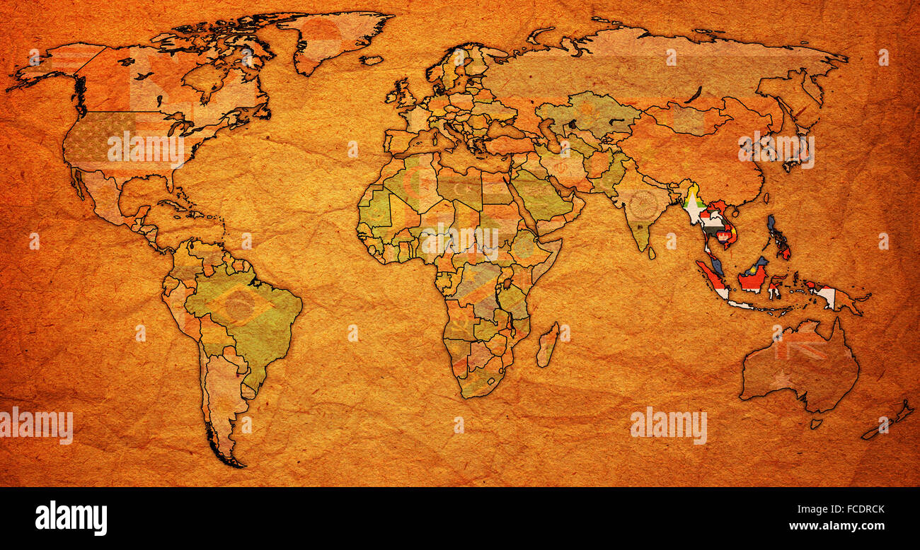Old vintage political world map with national flags stock photo old vintage political world map with national flags gumiabroncs Image collections