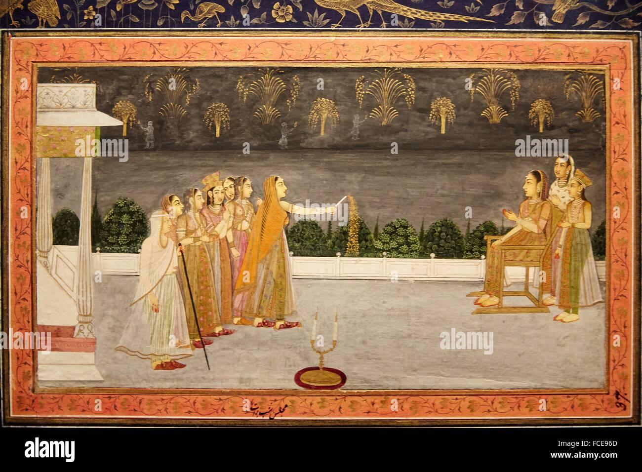 mughal miniature painting islamic art india pergamon museum stock photo royalty free image. Black Bedroom Furniture Sets. Home Design Ideas