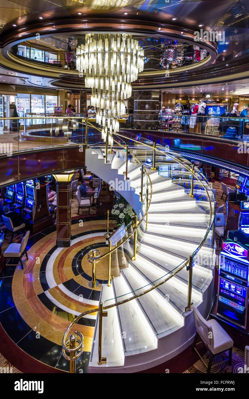 A Spiral Staircase To The Casino On Board The Regal Princess - Cruise ship casino