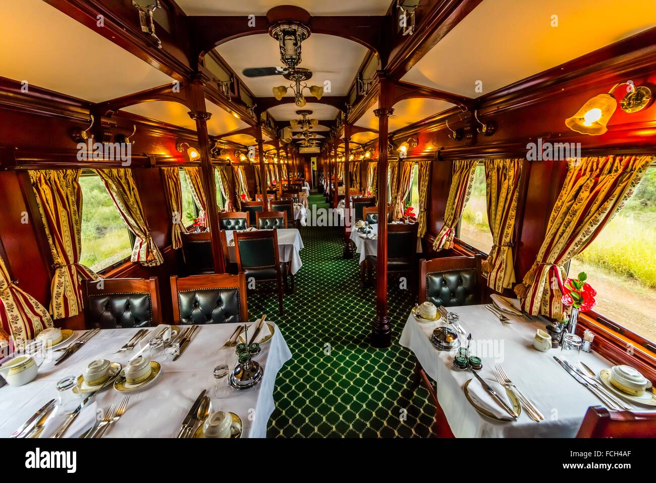 a pillared pre 1940s dining car on the luxury rovos rail train stock photo royalty free image. Black Bedroom Furniture Sets. Home Design Ideas