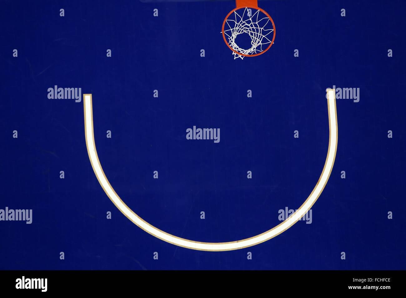 Overhead View Of Indoor Basketball