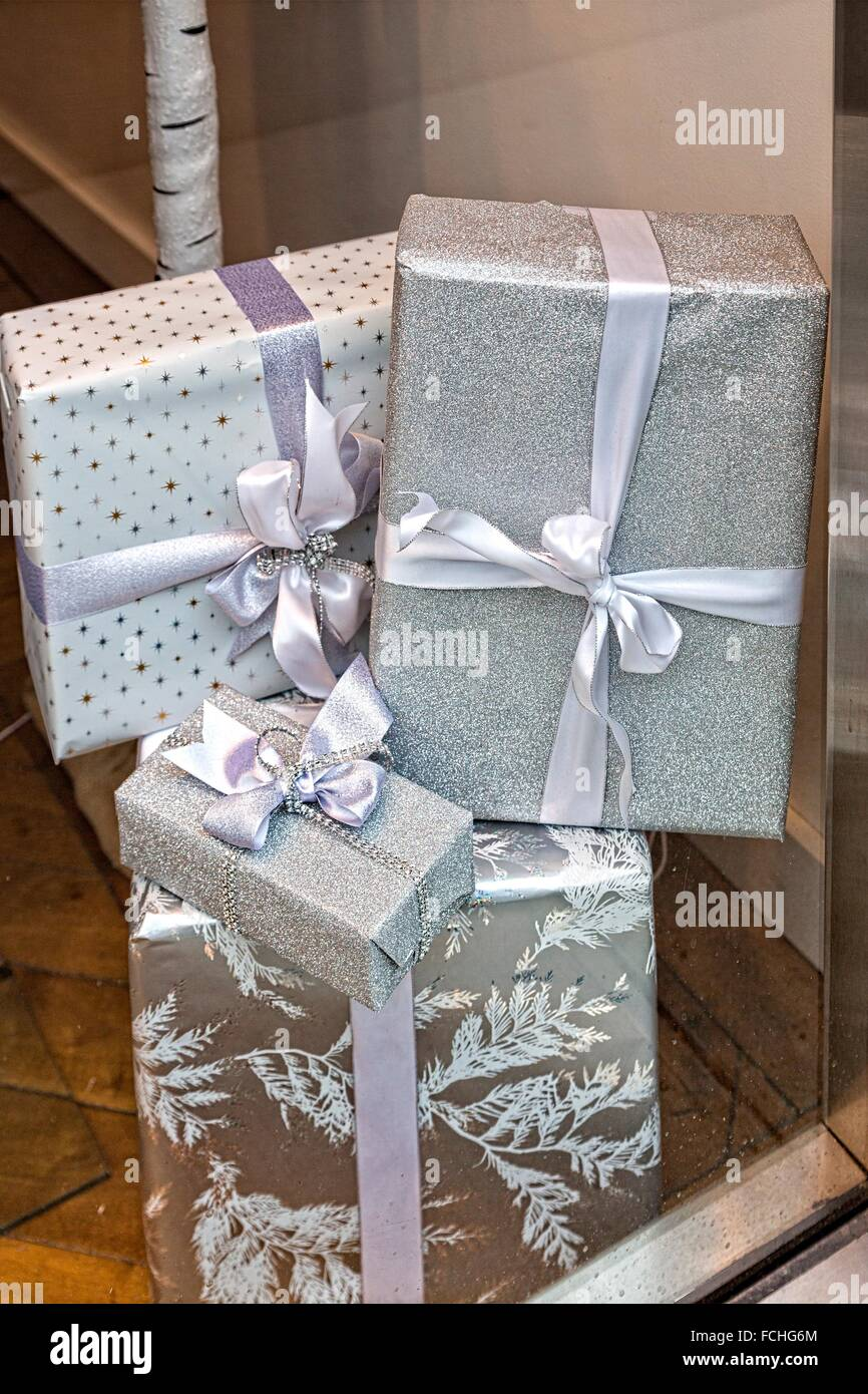 Wrapped Gift Packages Stacked In The Display Window Of A New York