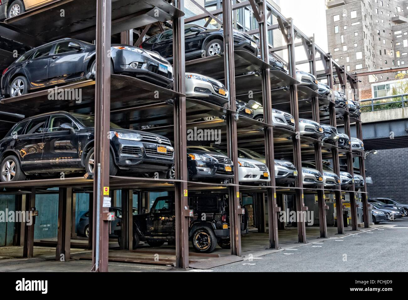 Cars Stacked In A Multi Level Manhattan New York City Parking