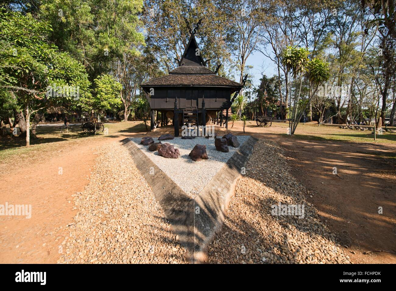 Baan Dam, the Black House temple and museum in Chiang Rai, Thailand Stock Pho...