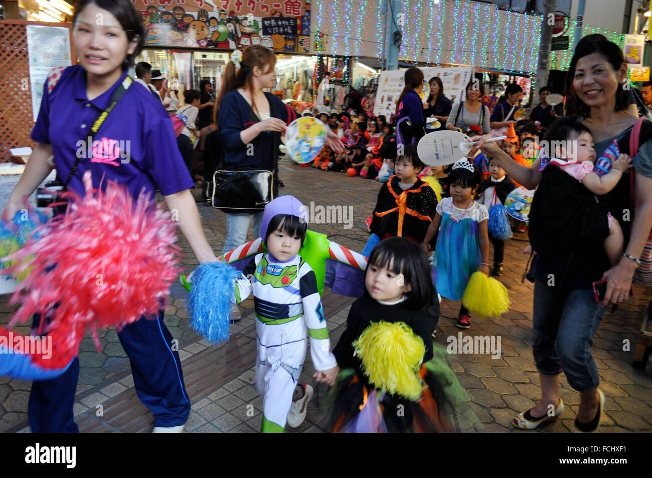 Naha, Okinawa, Japan: children celebrating Halloween in Heiwa-dori ...