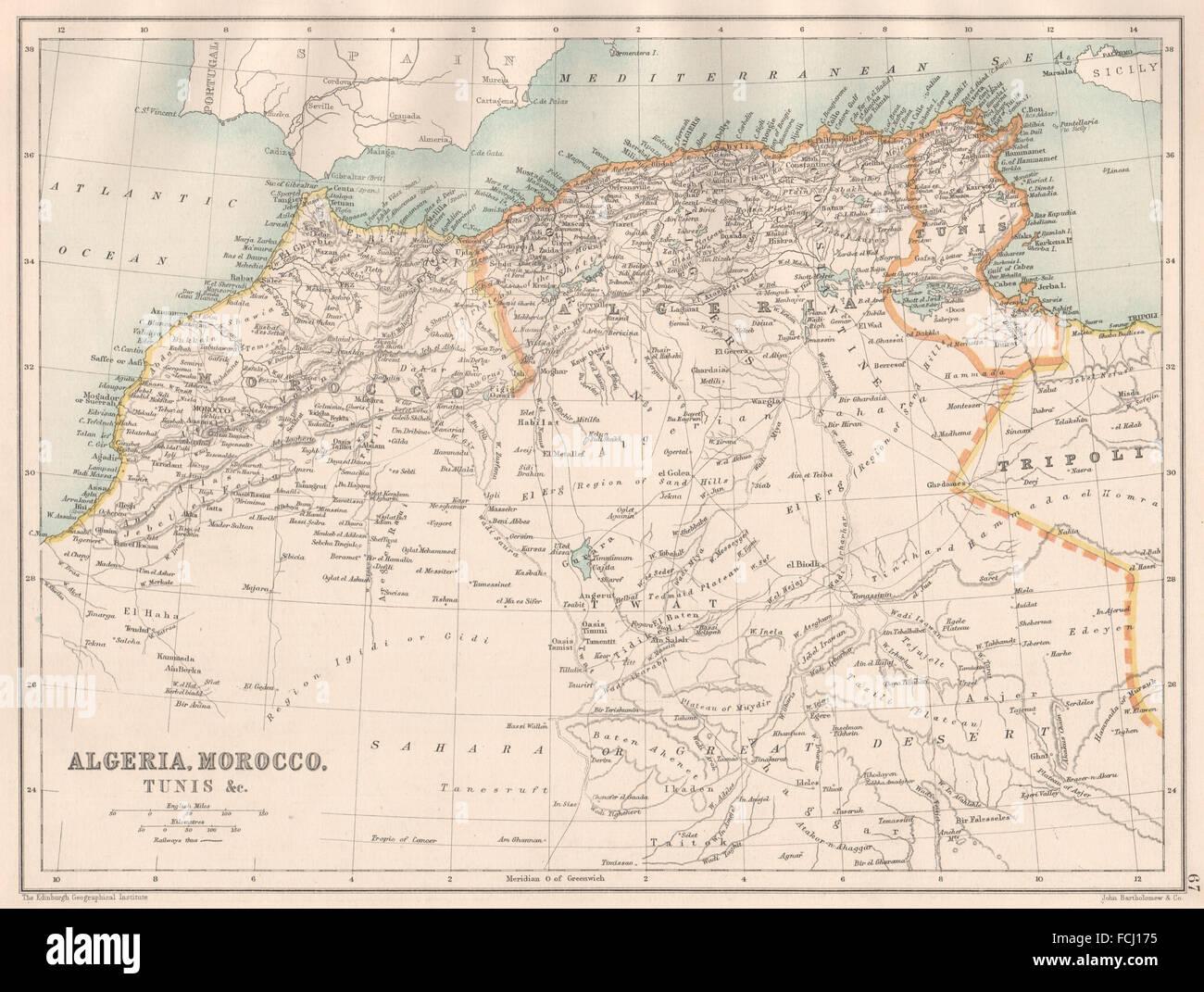 NORTH AFRICA Algeria Morocco Tunis Tunisia Maghreb BARTHOLOMEW - Tunisia map africa