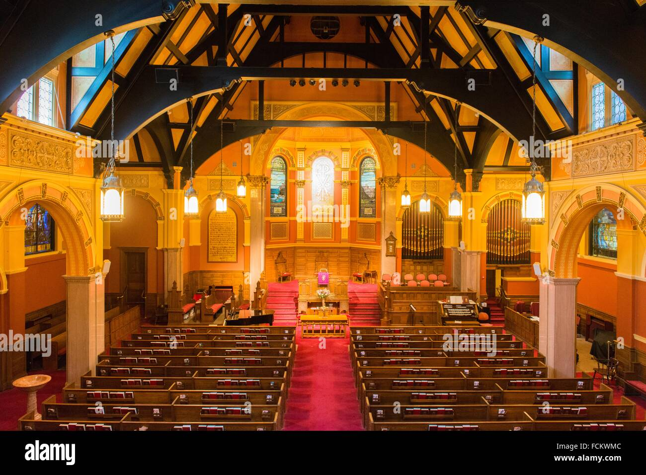 New York USA Interior Of The Upper West End Collegiate Church Manhattan From An Elevated Position