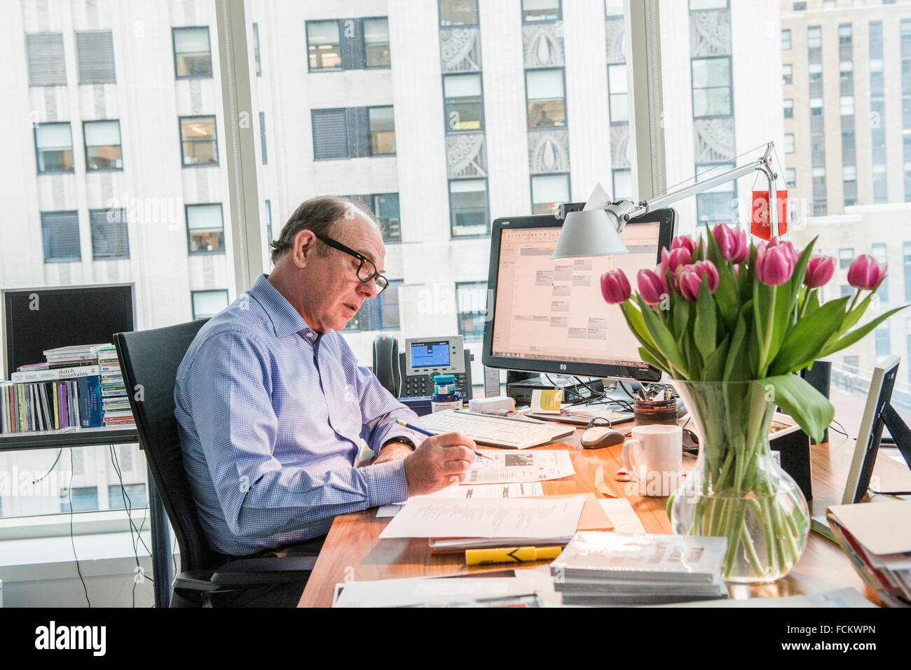 New York, USA. The Dutch Consul General in his office at ...