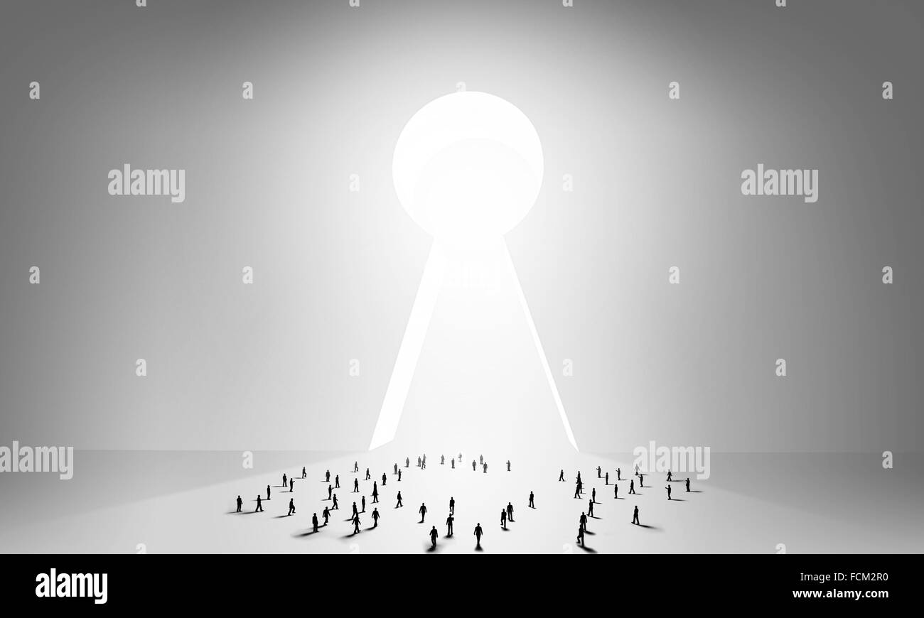 Many silhouettes of people and keyhole doorway & Many silhouettes of people and keyhole doorway Stock Photo ... pezcame.com