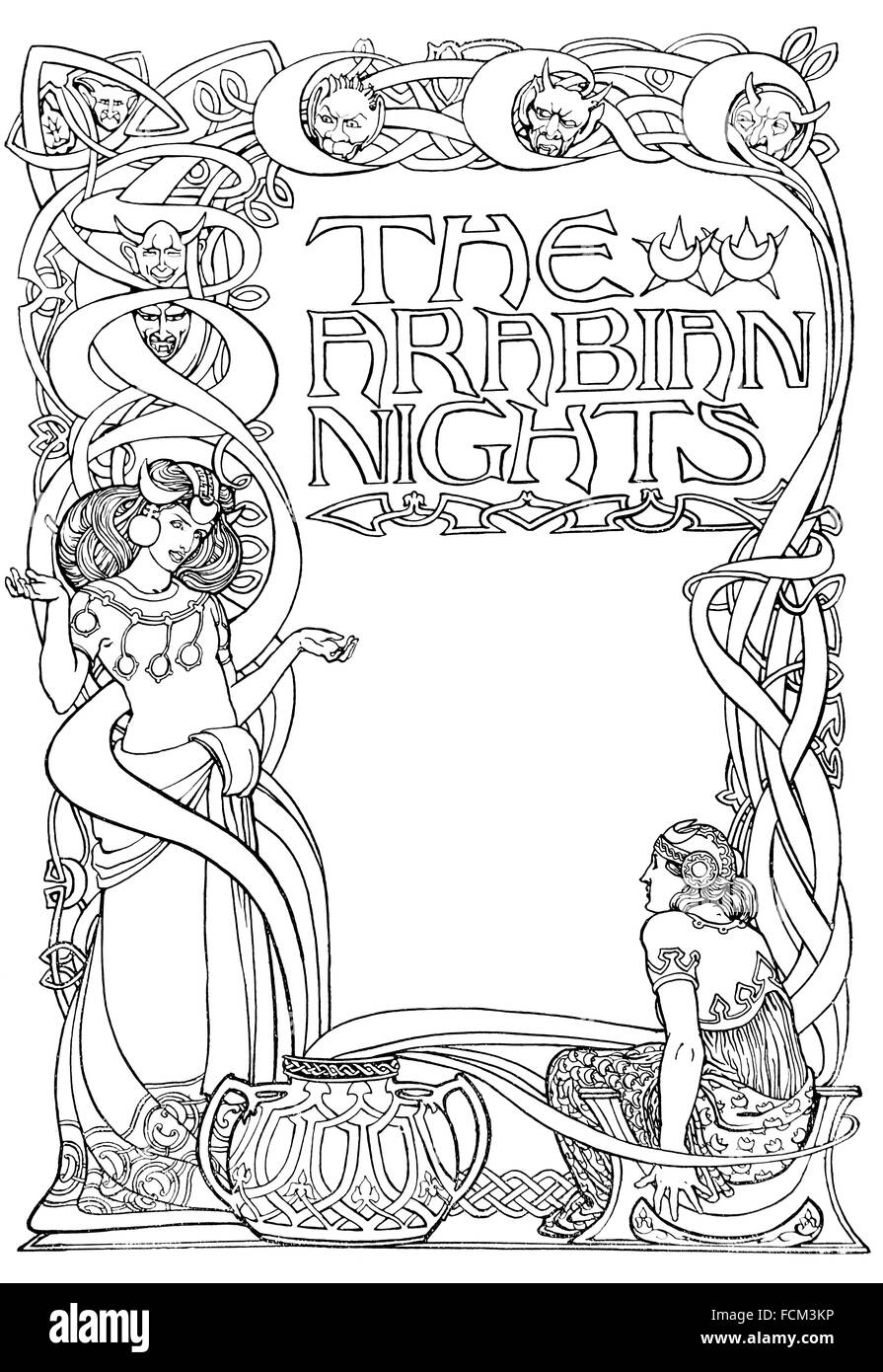 the arabian nights design for a title page by enid u jackson of stock photo the arabian nights design for a title page by enid u jackson of birmingham line illustration from 1900 studio magazine