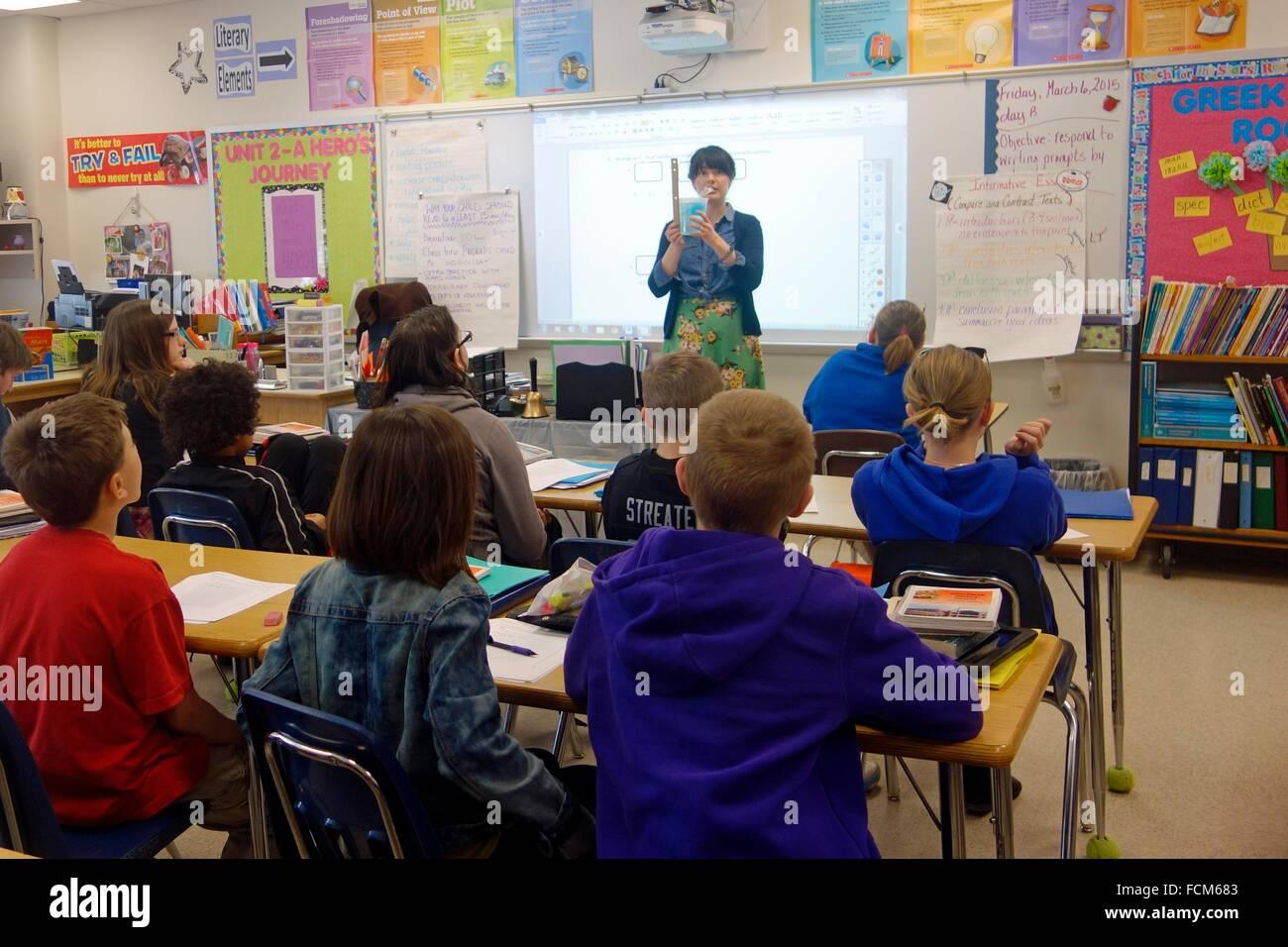 6th Grade Math Lesson, Wellsville, New York, United States Stock ...