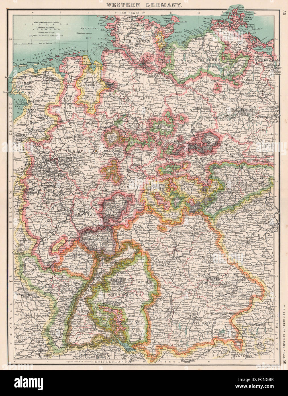 WESTERN GERMANY Showing states Brandenburg Hanover Westphalia