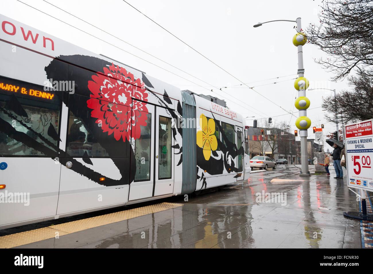seattle  usa  23rd jan  2016  streetcar docked at broadway