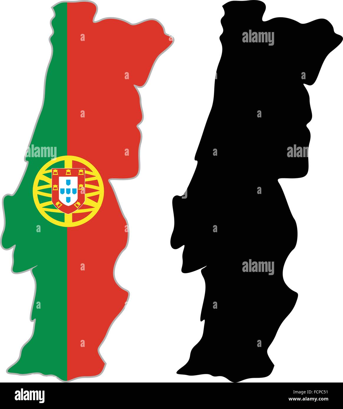 Portugal Map Flag On A White Background Vector Illustrator Stock - Portugal map flag
