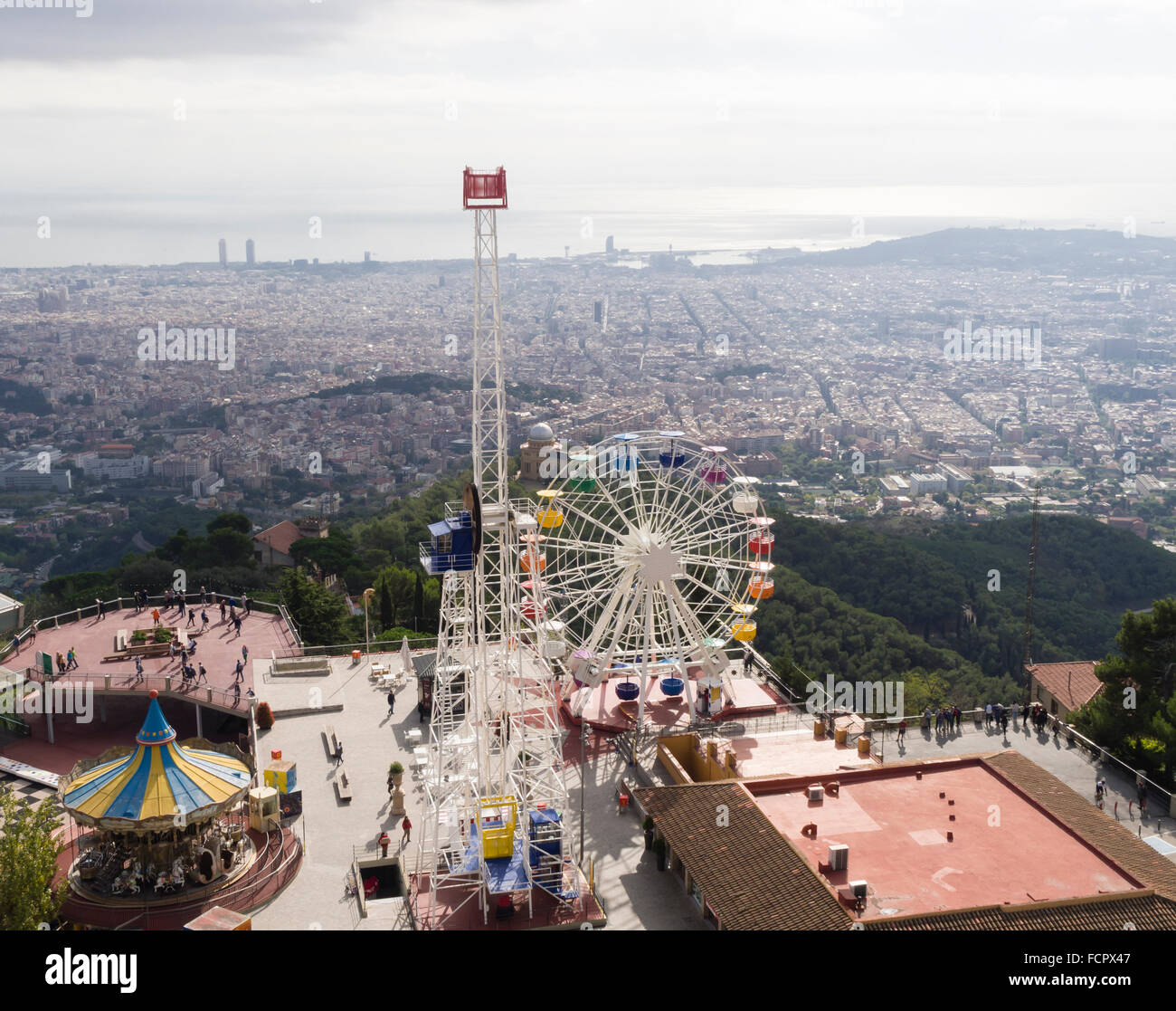 Amusement park on top of Tibidabo Mountain, Barcelona, Spain Stock Photo, Roy...