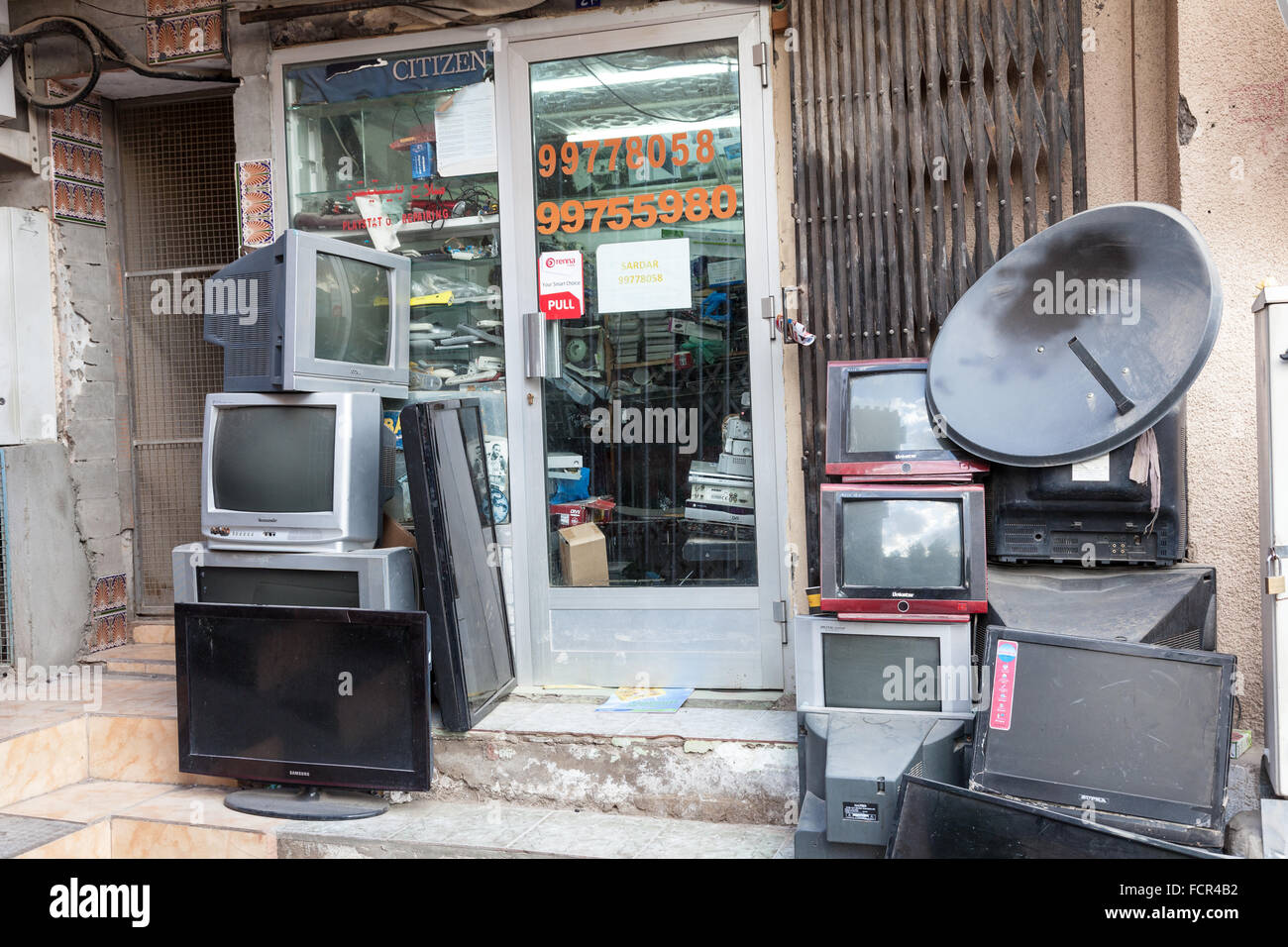 tv repair shop. stock photo - tv repair shop in the old town of nizwa. sultanate oman, middle east tv