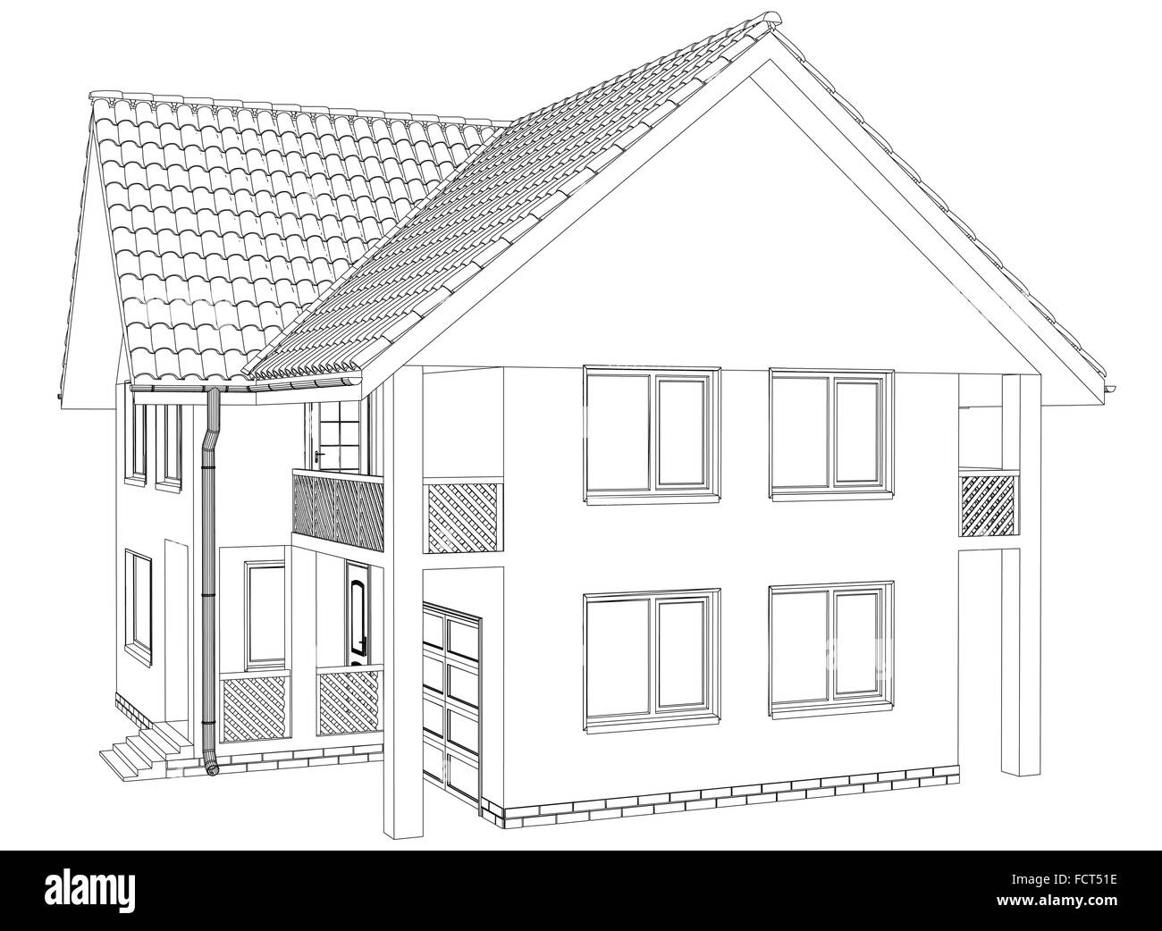House outline picture - Outline House On The White Background Illustration Created Of 3d Eps 10