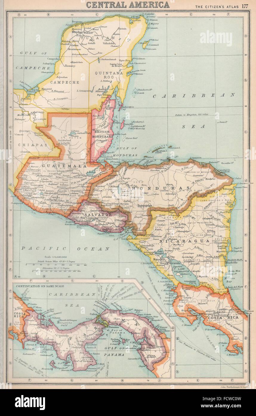 central america us panama c zone ownership shown bartholomew 1924 map