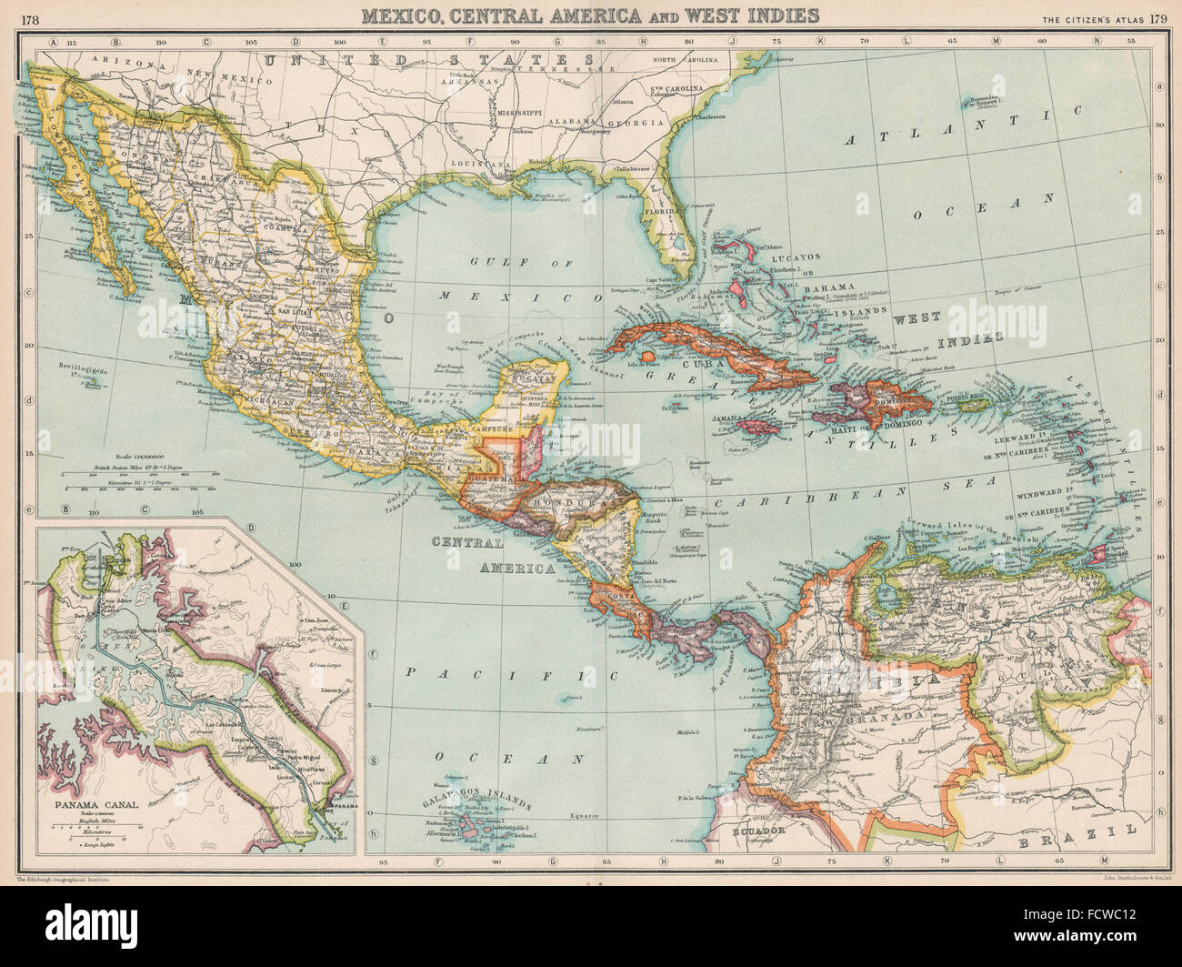 CENTRAL AMERICA Gulf Of Mexico Caribbean Panama Canal - Panama central america map