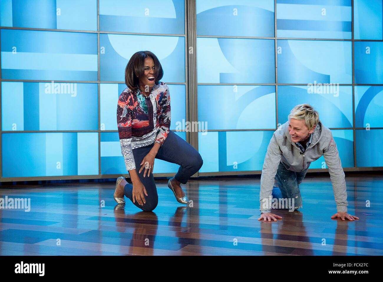 first lady michelle obama and ellen degeneres laugh during rehearsal stock photo royalty free. Black Bedroom Furniture Sets. Home Design Ideas