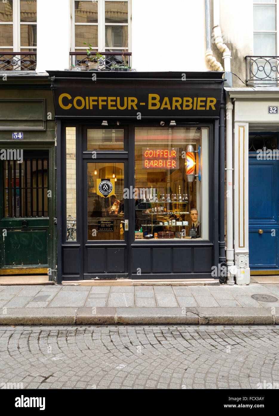 old style barber shop in center of paris france stock photo royalty free image 94001123 alamy. Black Bedroom Furniture Sets. Home Design Ideas