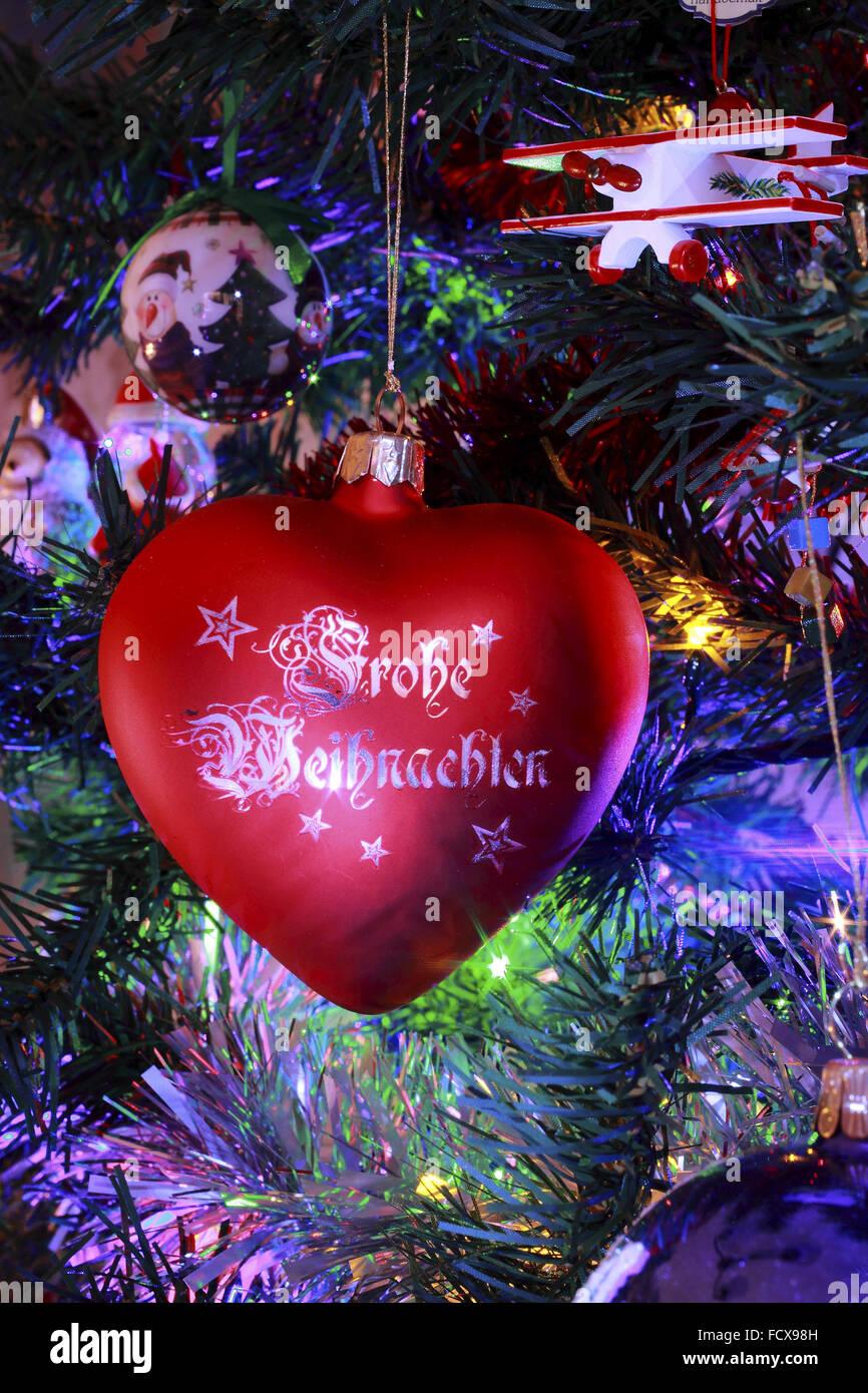 Glass heart christmas ornaments - Kathe Wohlfahrt Glass Frohe Weihnachten Heart Christmas Decoration On A Decorated Christmas Tree