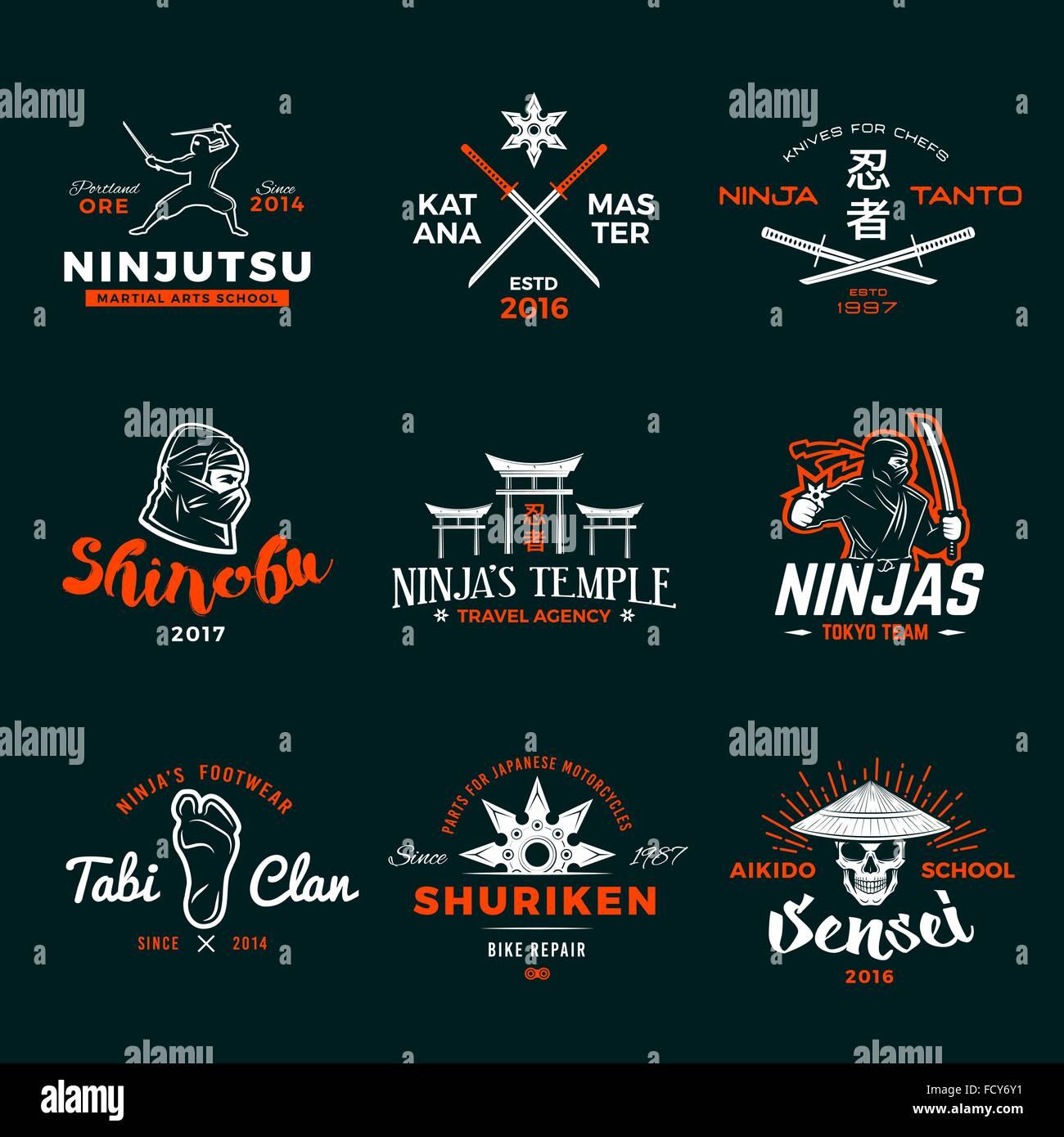 Design shirt japan -  Set Of Japan Ninja Logo Ninjato Sword Insignia Design Vintage Shuriken Badge Mixed