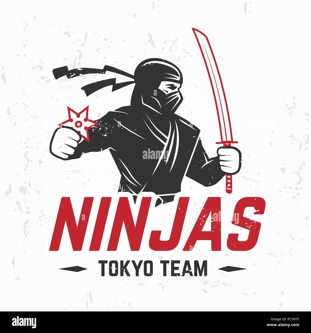 Design shirt japan - Japan Ninjas Sport Logo Concept Katana Weapon Insignia Design Vintage Ninja Mascot Badge Martial Art Team T Shirt Illustration