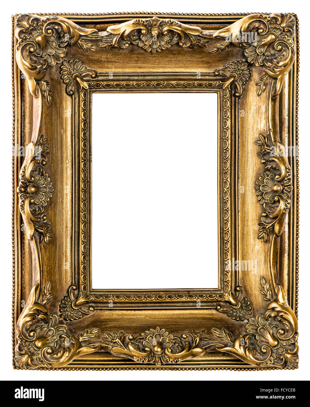 Golden baroque picture frame on white background vintage style golden baroque picture frame on white background vintage style object jeuxipadfo Gallery
