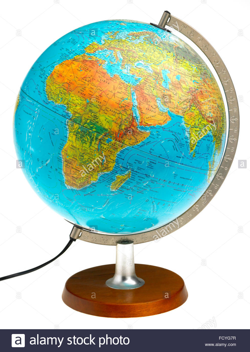 World whole globe illuminated map plastic and translucent
