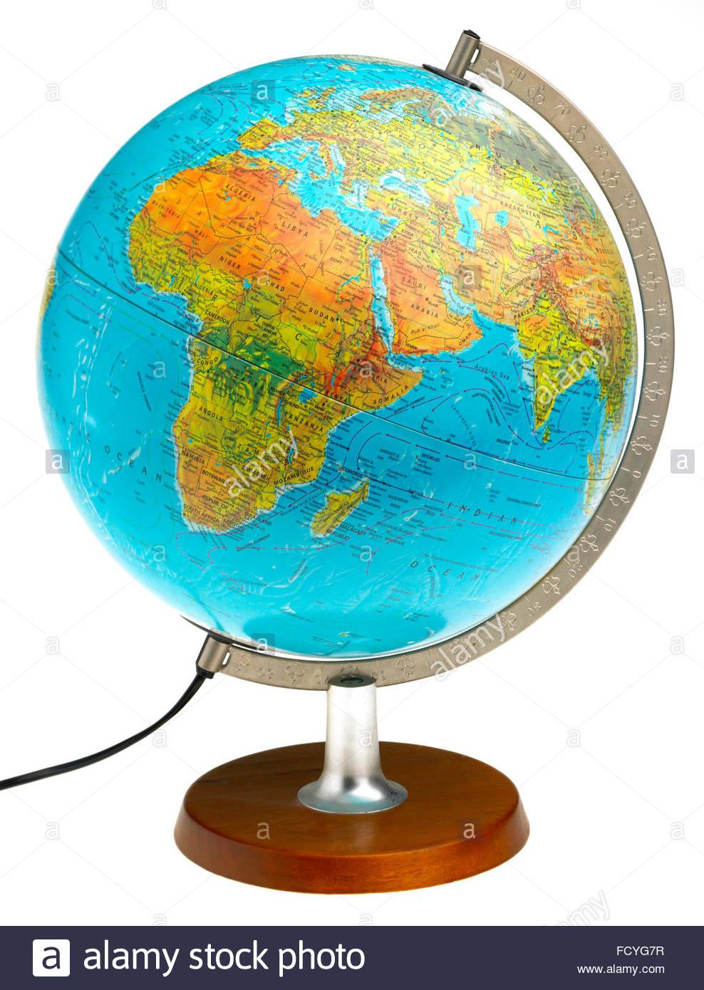 World whole globe illuminated map plastic and translucent world whole globe illuminated map plastic and translucent showing the equator europe and gumiabroncs Images