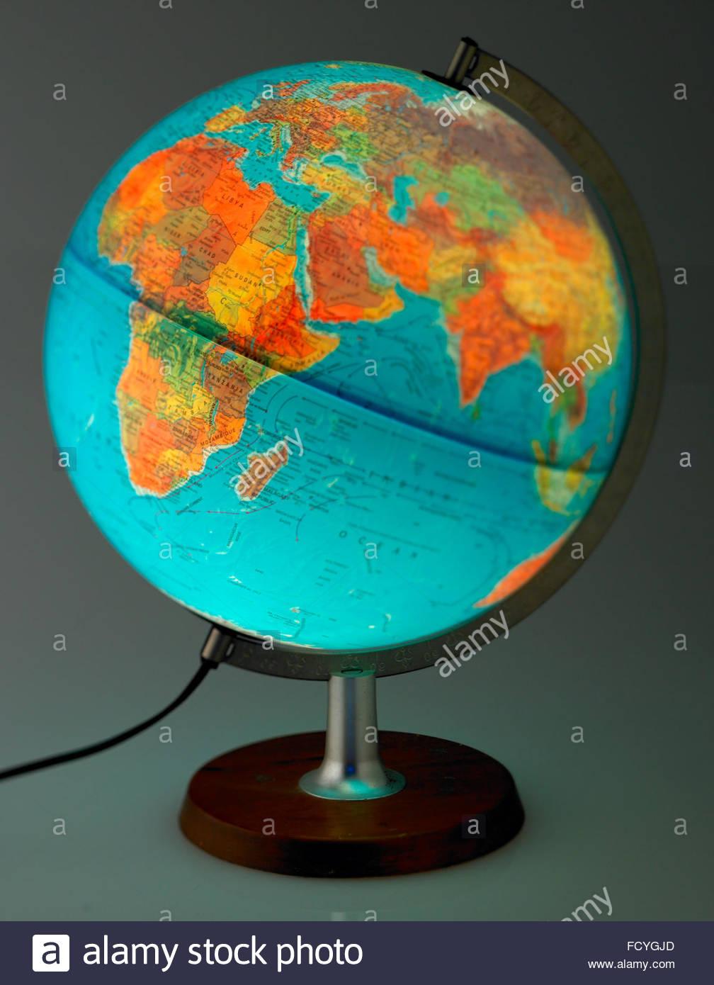 World whole globe illuminated map plastic and translucent world whole globe illuminated map plastic and translucent showing the equator europe and africa on a hard base gumiabroncs Images