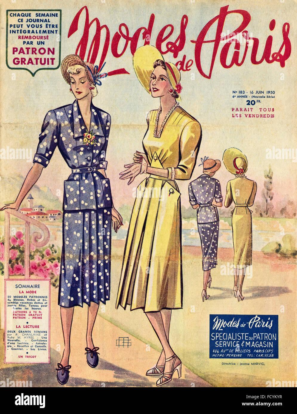 Cover Of Original Vintage French Fashion Magazine Modes De