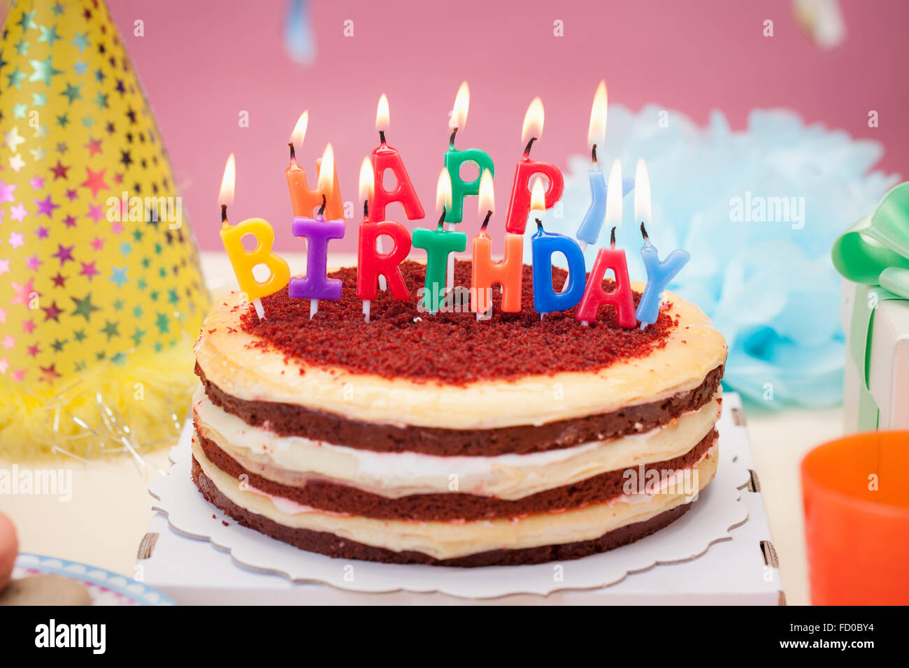 Birthday Cake Candle Images Free Download : Birthday cake with colorful candles representing Happy ...
