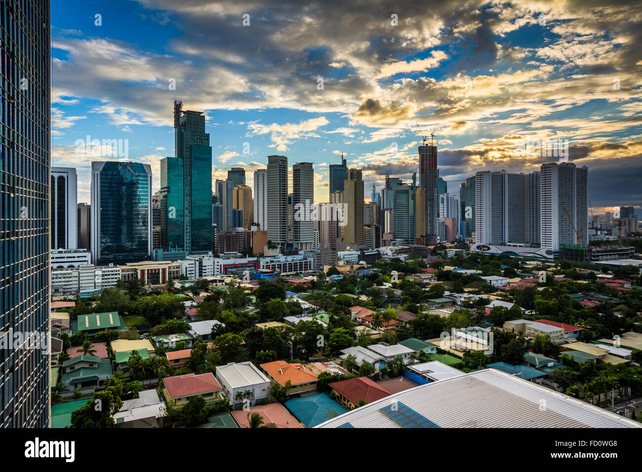 View Of The Skyline Of Makati At Sunset In Metro Manila The Stock Photo Royalty Free Image