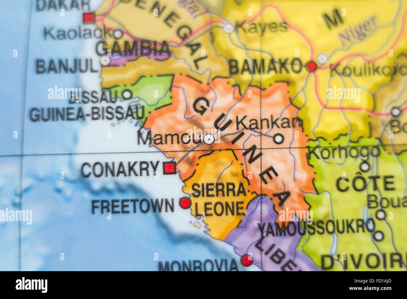 Photo of a map of Republic of Guinea and the capital Conakry Stock