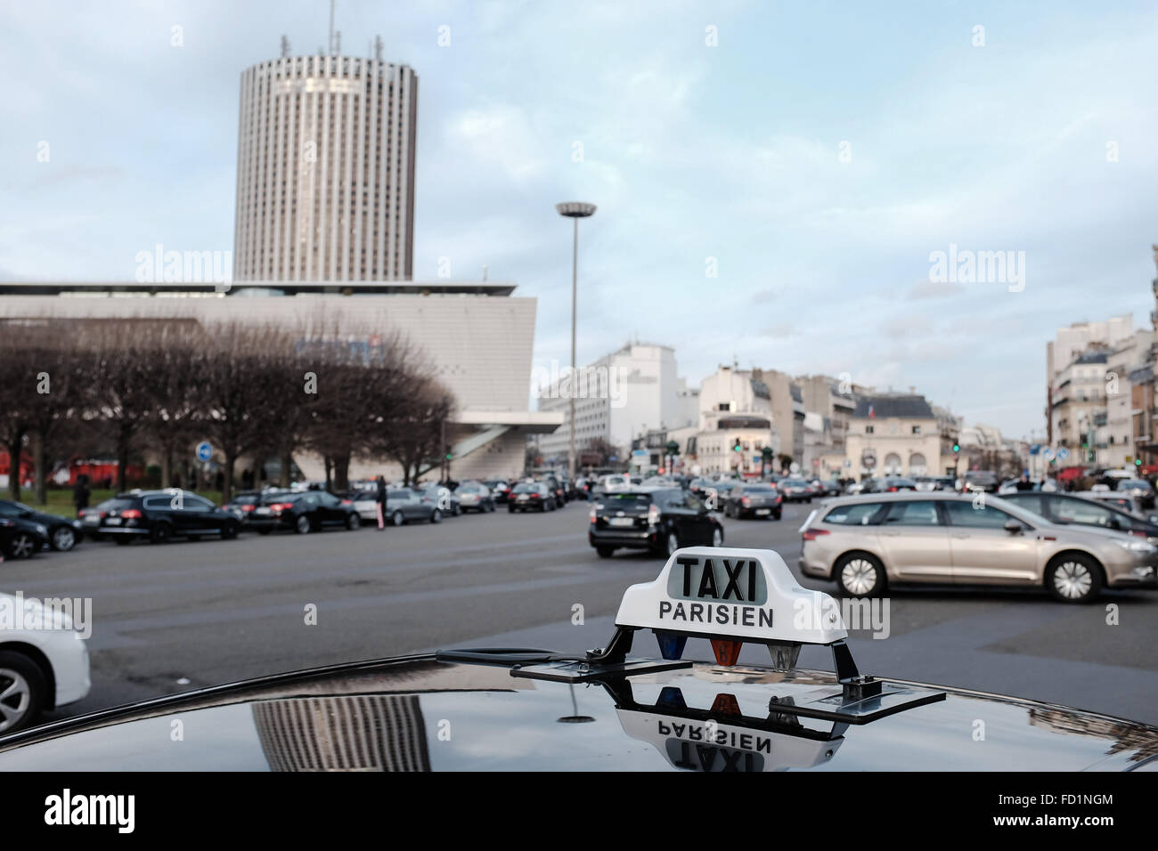 Paris France Th Jan Taxi Drivers Took Over Few Places In - Taxi porte maillot