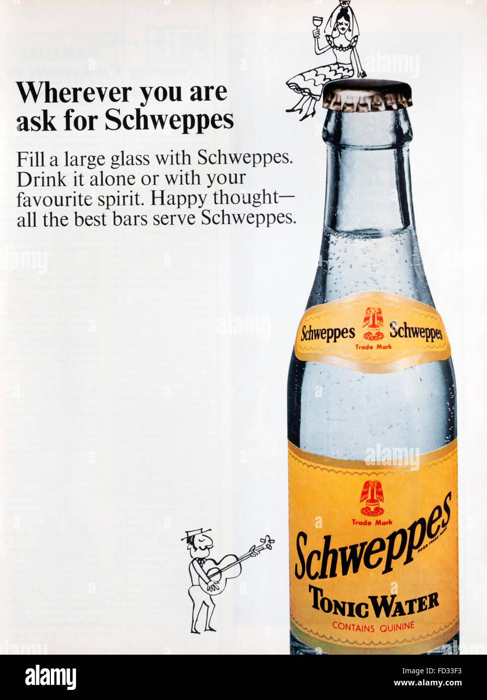1960s Magazine Advertisement Advertising Schweppes Tonic Water ...