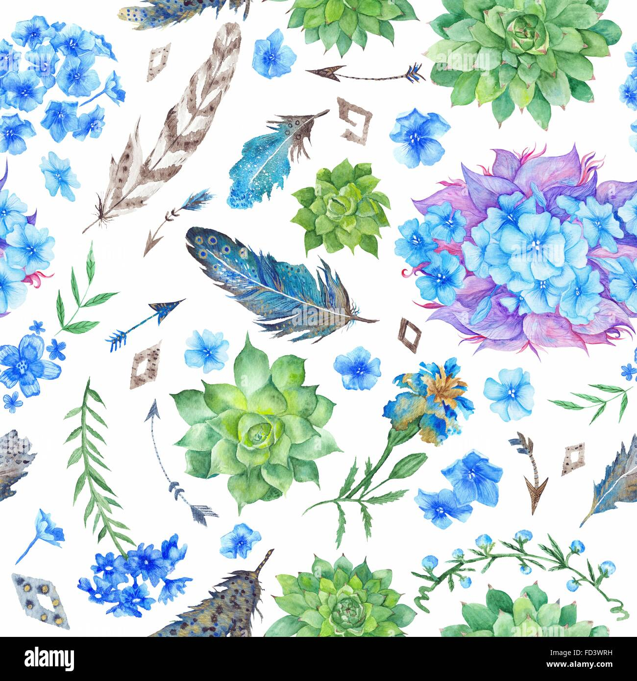 Forest Boho Style Illustration For Wallpaper Textile Event Design With Feathers Succulents Flowers And Arrows