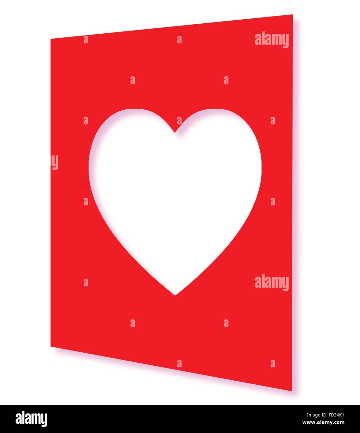 Front page of a valentine card with a cutaway heart shape – Picture of a Valentine Card