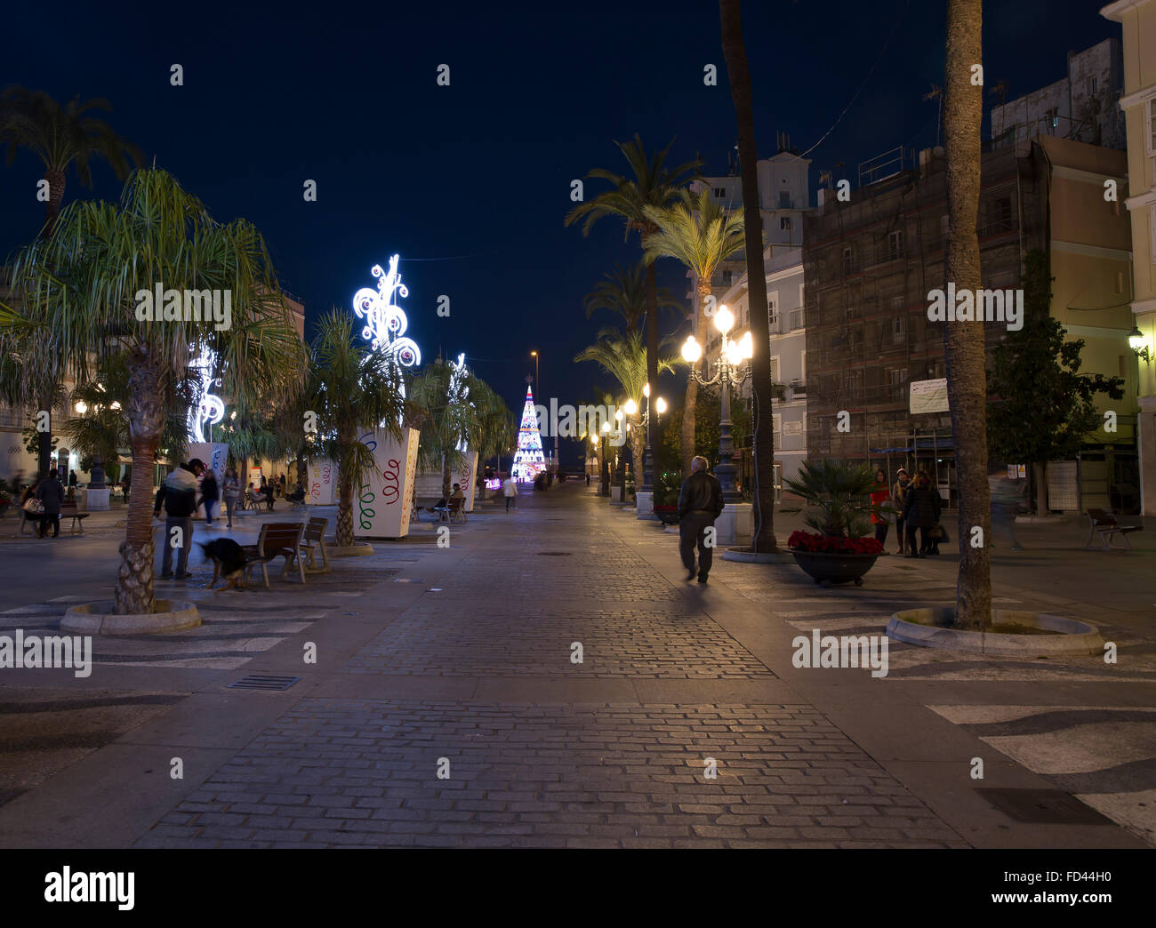 Decorations In Spain Christmas Decorations In A Square In Cadiz Spain Stock Photo