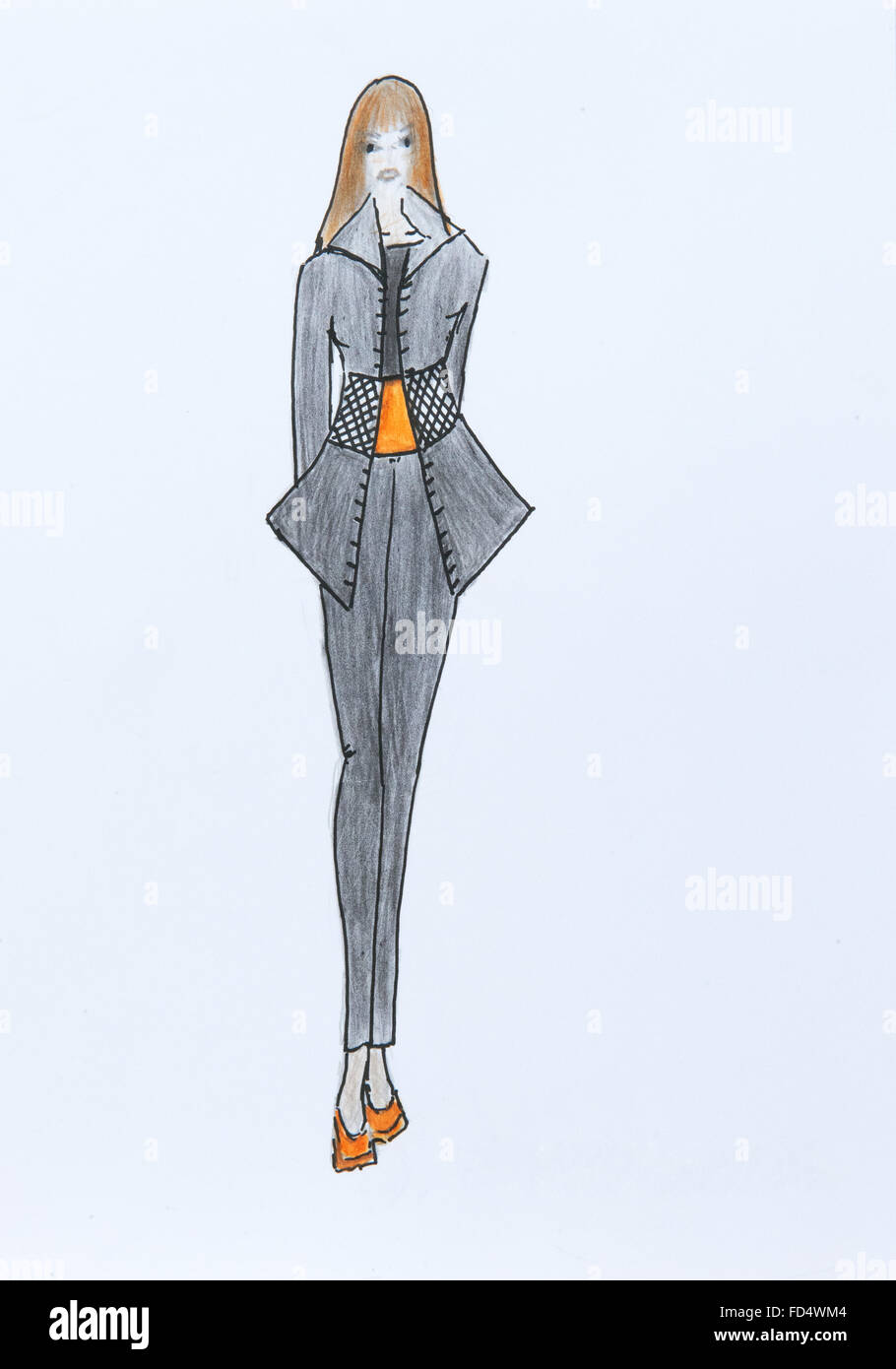 Hand Made Fashion Sketch Fashion Draw Of Free Casual Woman Style Stock Photo Royalty Free ...