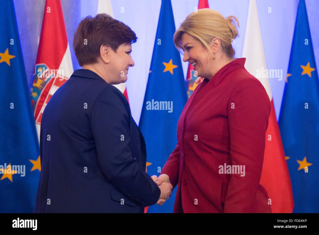 Warsaw, Poland. 28th Jan, 2016. President of Croatia ...