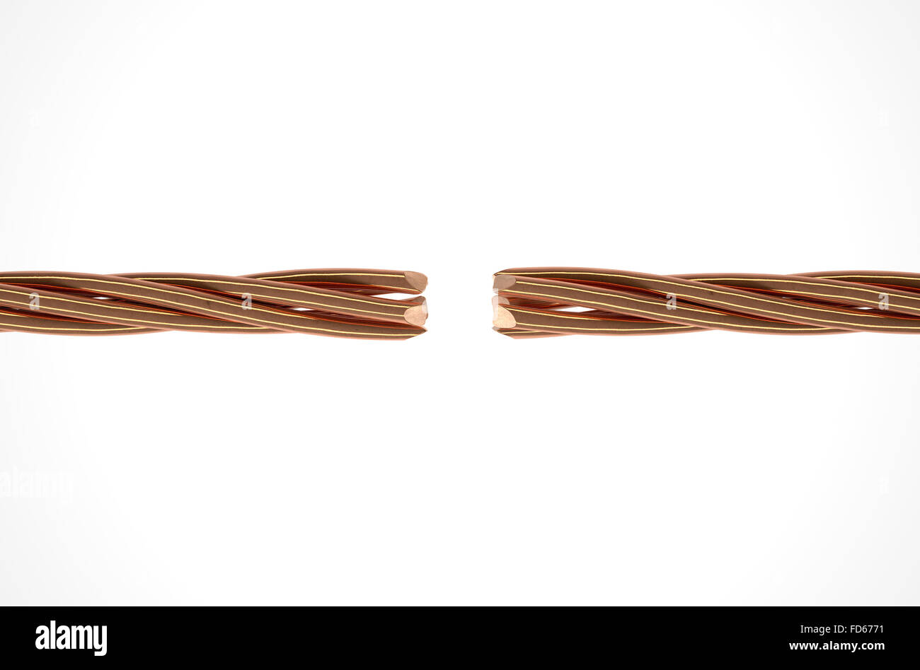Two cables made up of twisted strands of copper wire that are ...